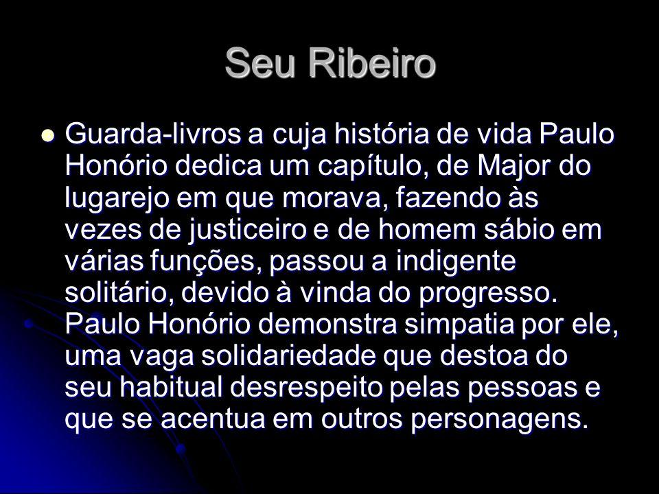 Seu Ribeiro Guarda-livros a cuja história de vida Paulo Honório dedica um capítulo, de Major do lugarejo em que morava, fazendo às vezes de justiceiro