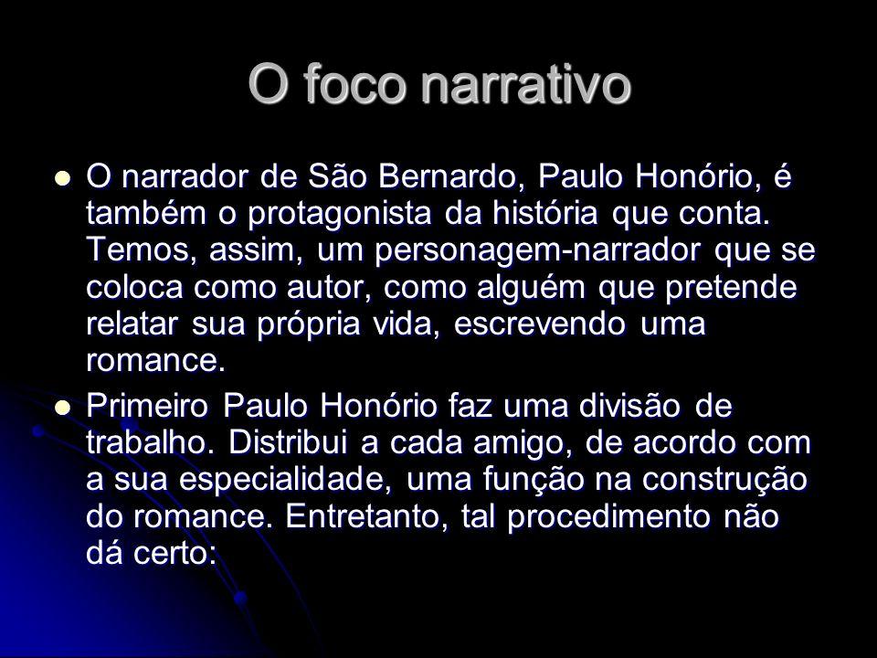 O foco narrativo O narrador de São Bernardo, Paulo Honório, é também o protagonista da história que conta. Temos, assim, um personagem-narrador que se