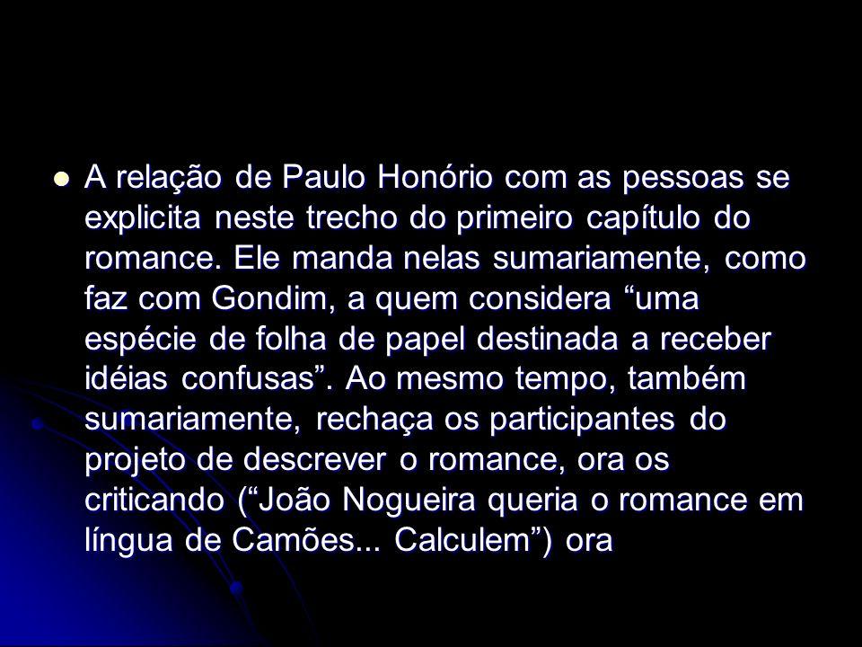 A relação de Paulo Honório com as pessoas se explicita neste trecho do primeiro capítulo do romance. Ele manda nelas sumariamente, como faz com Gondim