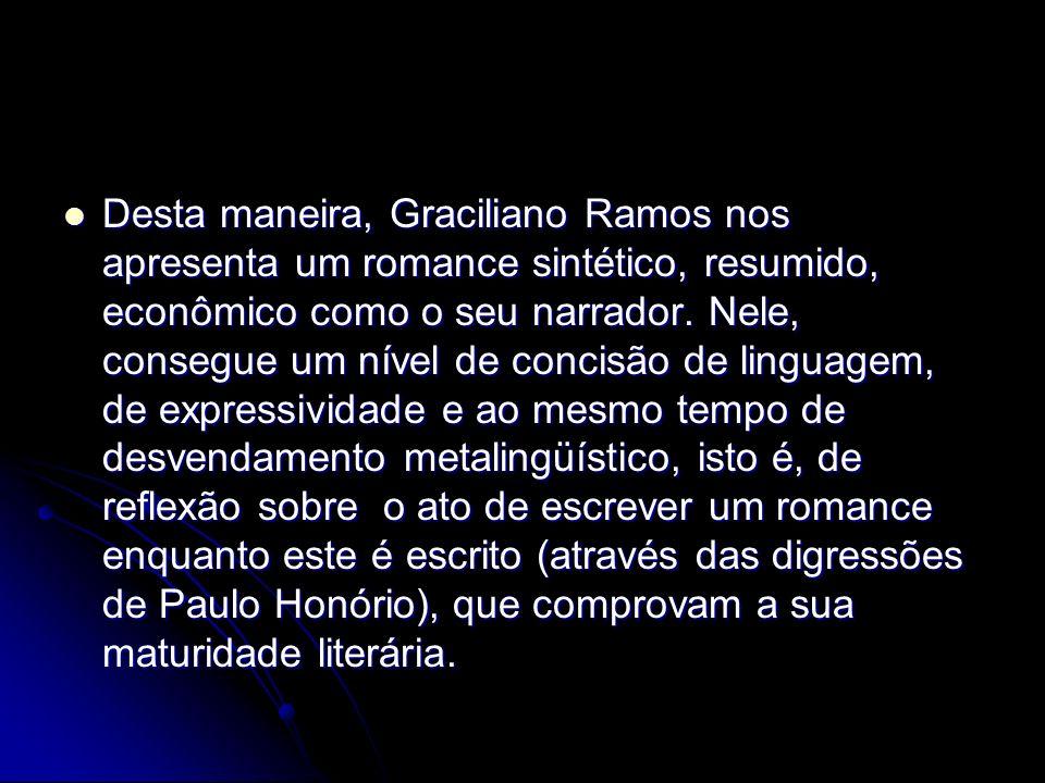 Desta maneira, Graciliano Ramos nos apresenta um romance sintético, resumido, econômico como o seu narrador. Nele, consegue um nível de concisão de li
