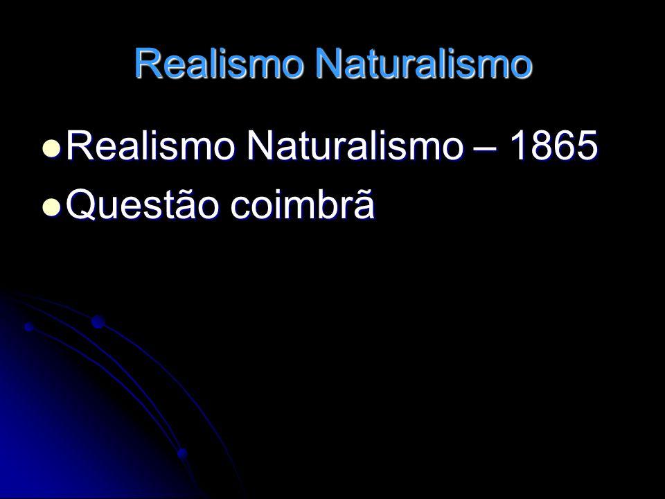 Realismo Naturalismo Realismo Naturalismo – 1865 Realismo Naturalismo – 1865 Questão coimbrã Questão coimbrã