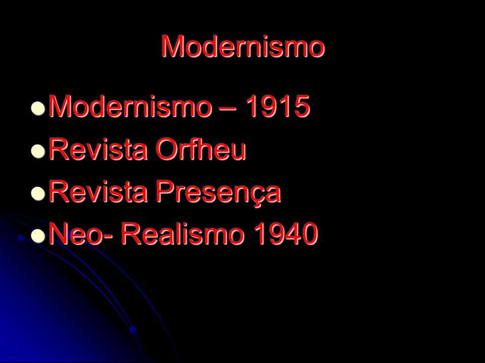 Modernismo Modernismo – 1915 Modernismo – 1915 Revista Orfheu Revista Orfheu Revista Presença Revista Presença Neo- Realismo 1940 Neo- Realismo 1940