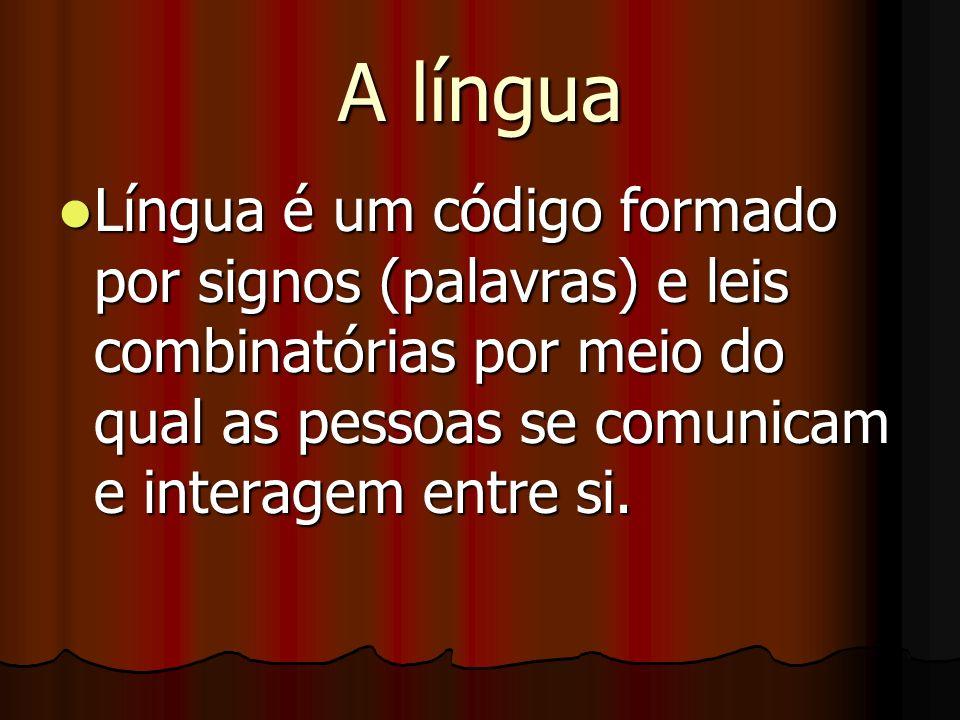 A língua Língua é um código formado por signos (palavras) e leis combinatórias por meio do qual as pessoas se comunicam e interagem entre si. Língua é