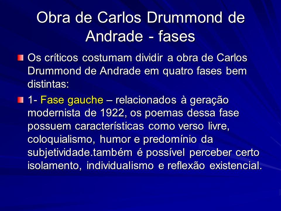 Obra de Carlos Drummond de Andrade - fases Os críticos costumam dividir a obra de Carlos Drummond de Andrade em quatro fases bem distintas: 1- Fase ga