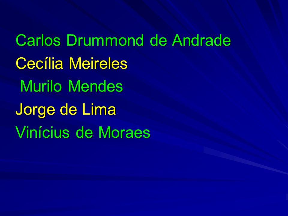 Carlos Drummond de Andrade Cecília Meireles Murilo Mendes Murilo Mendes Jorge de Lima Vinícius de Moraes