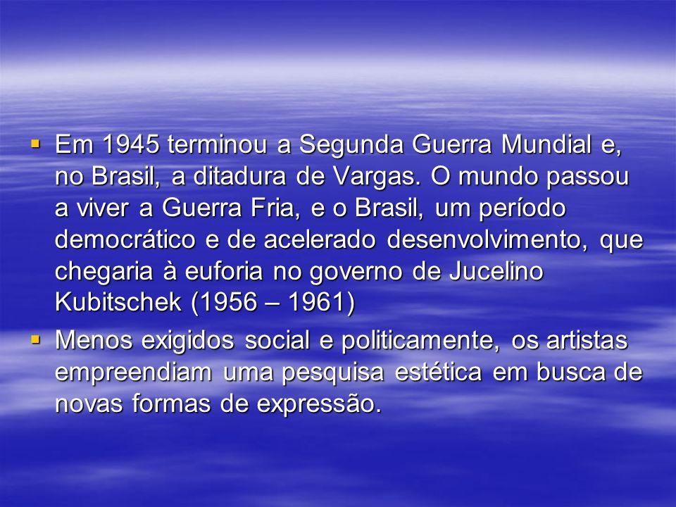 Em 1945 terminou a Segunda Guerra Mundial e, no Brasil, a ditadura de Vargas. O mundo passou a viver a Guerra Fria, e o Brasil, um período democrático