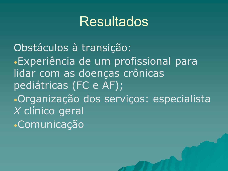 Resultados Obstáculos à transição: Experiência de um profissional para lidar com as doenças crônicas pediátricas (FC e AF); Organização dos serviços: