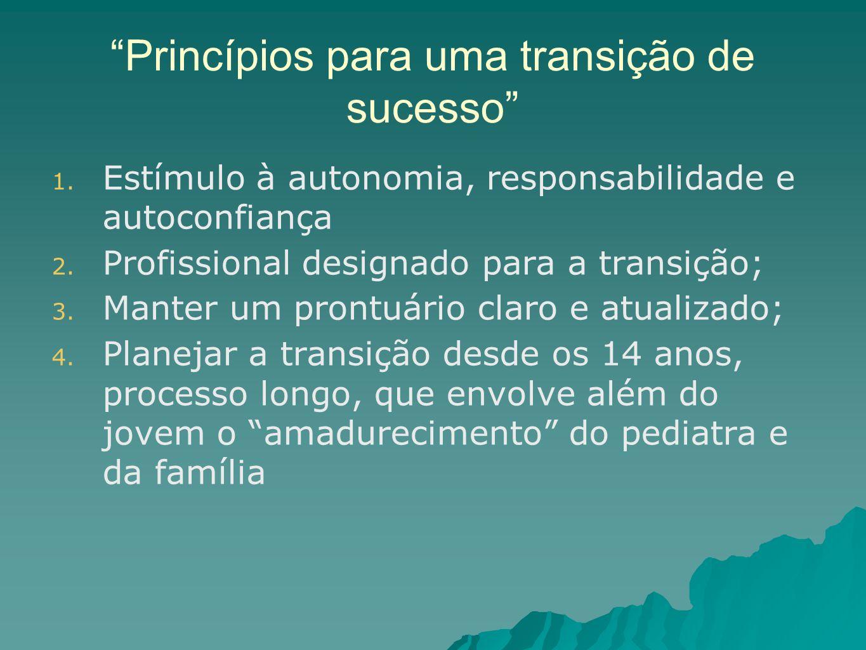 Princípios para uma transição de sucesso 1. Estímulo à autonomia, responsabilidade e autoconfiança 2. Profissional designado para a transição; 3. Mant