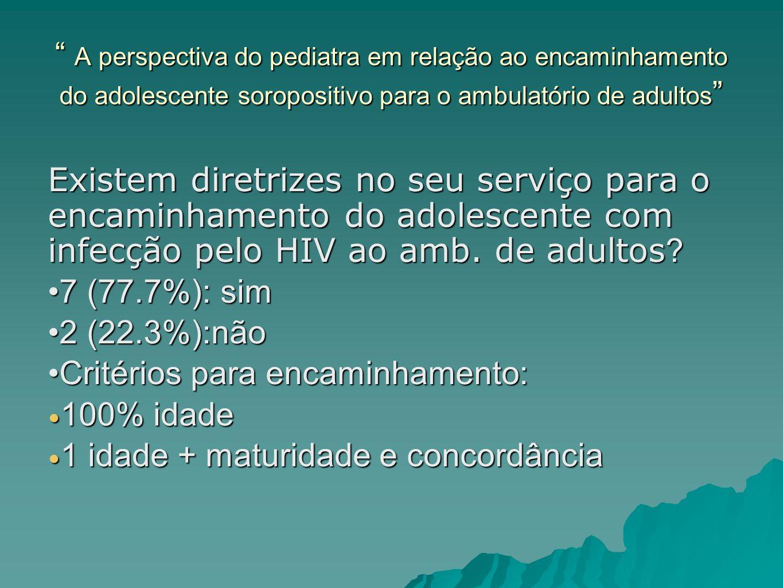 A perspectiva do pediatra em relação ao encaminhamento do adolescente soropositivo para o ambulatório de adultos A perspectiva do pediatra em relação