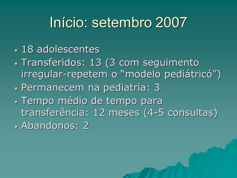 Início: setembro 2007 18 adolescentes 18 adolescentes Transferidos: 13 (3 com seguimento irregular-repetem o modelo pediátricó) Transferidos: 13 (3 co
