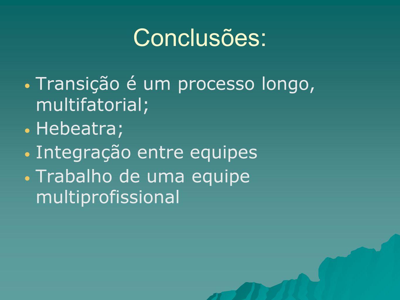 Conclusões: Transição é um processo longo, multifatorial; Hebeatra; Integração entre equipes Trabalho de uma equipe multiprofissional