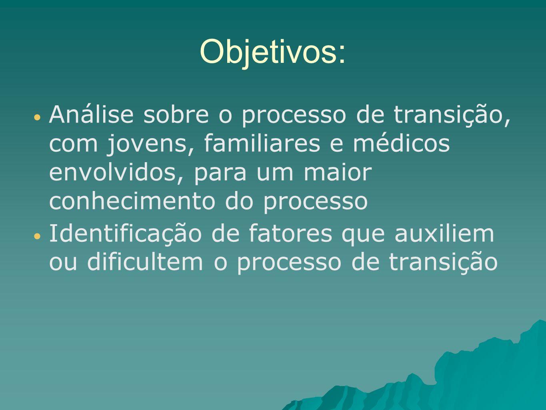 Objetivos: Análise sobre o processo de transição, com jovens, familiares e médicos envolvidos, para um maior conhecimento do processo Identificação de