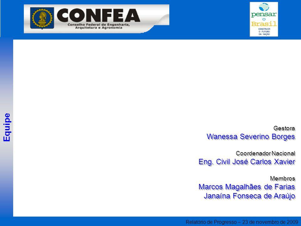 Relatório de Progresso – 23 de novembro de 2009 Gestora Wanessa Severino Borges Coordenador Nacional Eng. Civil José Carlos Xavier Membros Marcos Maga