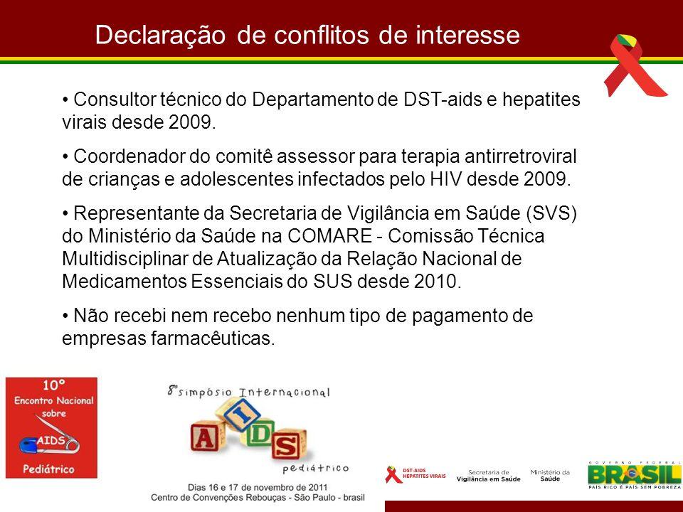 Declaração de conflitos de interesse Consultor técnico do Departamento de DST-aids e hepatites virais desde 2009. Coordenador do comitê assessor para