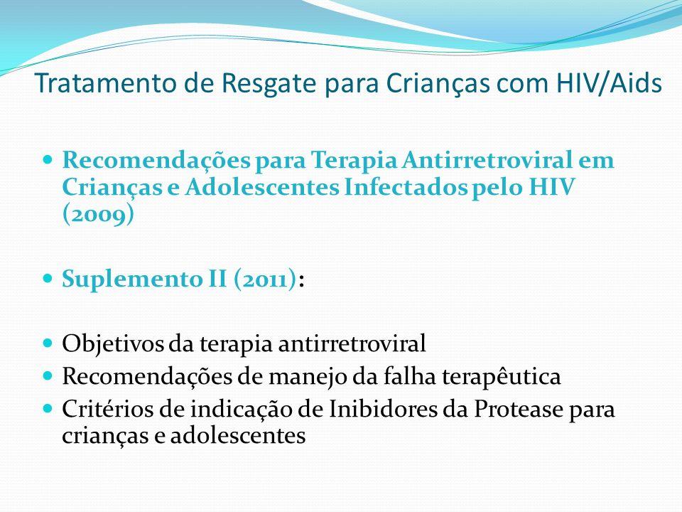 Tratamento de Resgate para Crianças com HIV/Aids Recomendações para Terapia Antirretroviral em Crianças e Adolescentes Infectados pelo HIV (2009) Supl