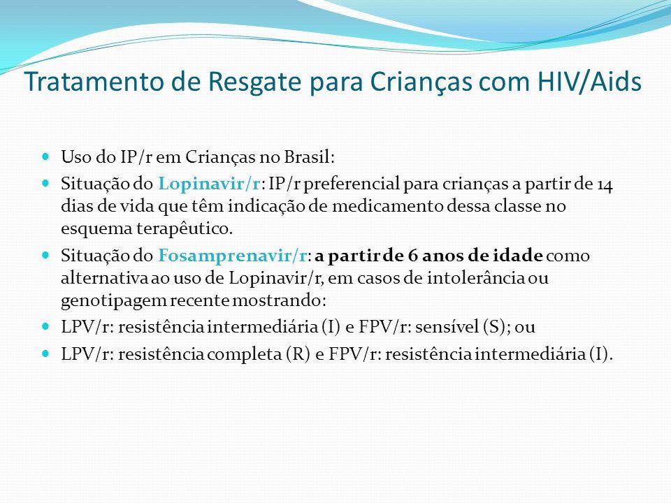 Tratamento de Resgate para Crianças com HIV/Aids Uso do IP/r em Crianças no Brasil: Situação do Lopinavir/r: IP/r preferencial para crianças a partir
