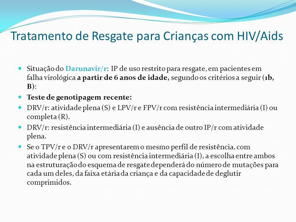 Tratamento de Resgate para Crianças com HIV/Aids Situação do Darunavir/r: IP de uso restrito para resgate, em pacientes em falha virológica a partir d