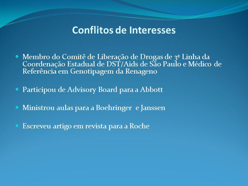 Conflitos de Interesses Membro do Comitê de Liberação de Drogas de 3ª Linha da Coordenação Estadual de DST/Aids de São Paulo e Médico de Referência em