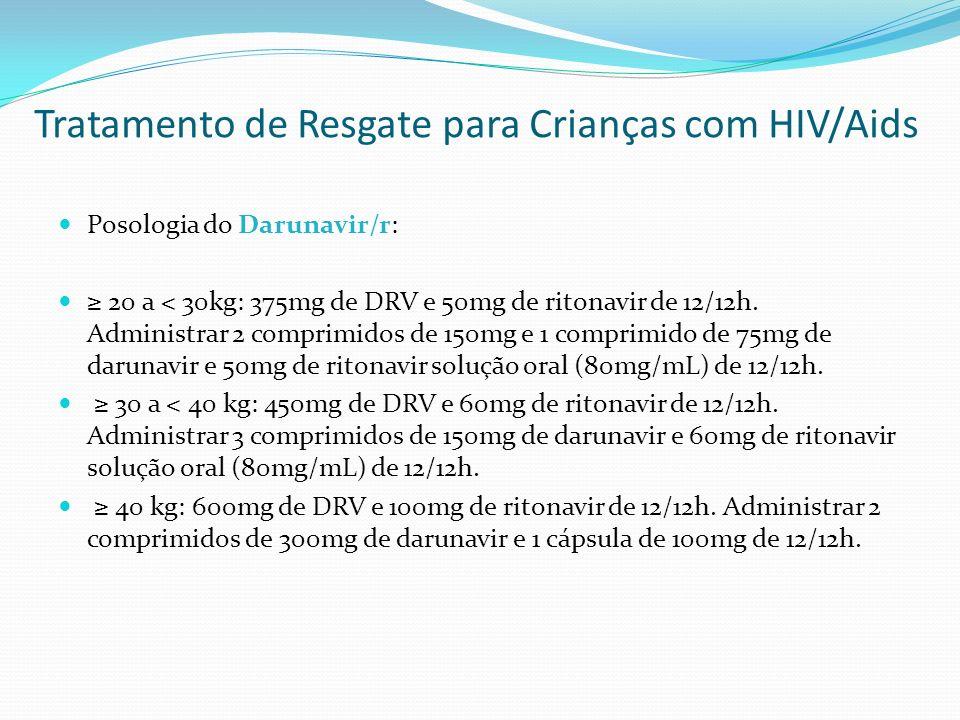Tratamento de Resgate para Crianças com HIV/Aids Posologia do Darunavir/r: 20 a < 30kg: 375mg de DRV e 50mg de ritonavir de 12/12h. Administrar 2 comp