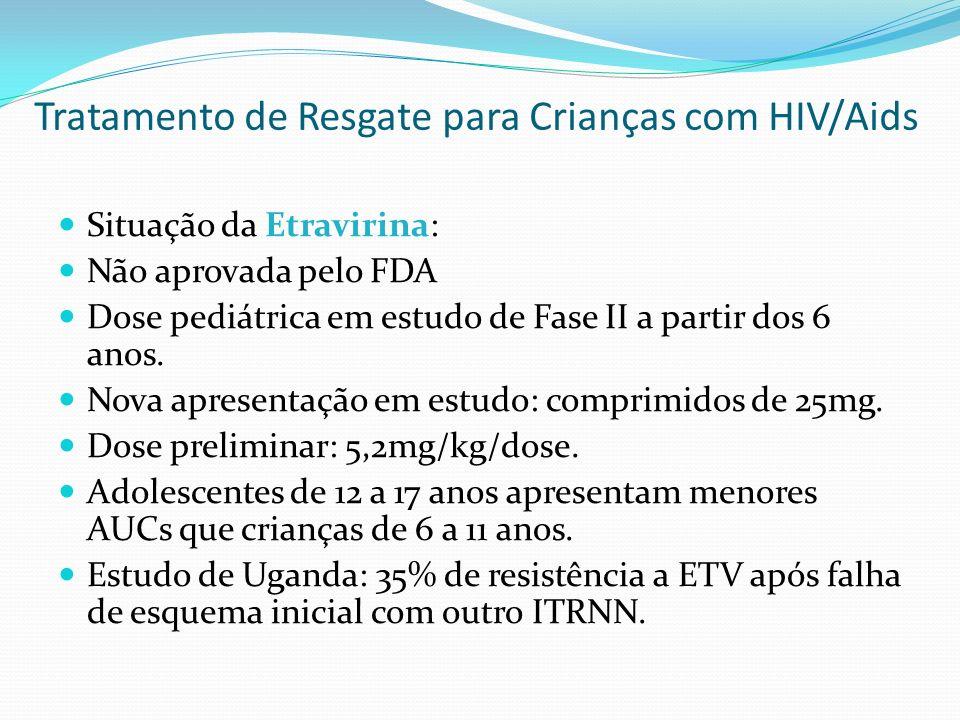 Situação da Etravirina: Não aprovada pelo FDA Dose pediátrica em estudo de Fase II a partir dos 6 anos. Nova apresentação em estudo: comprimidos de 25