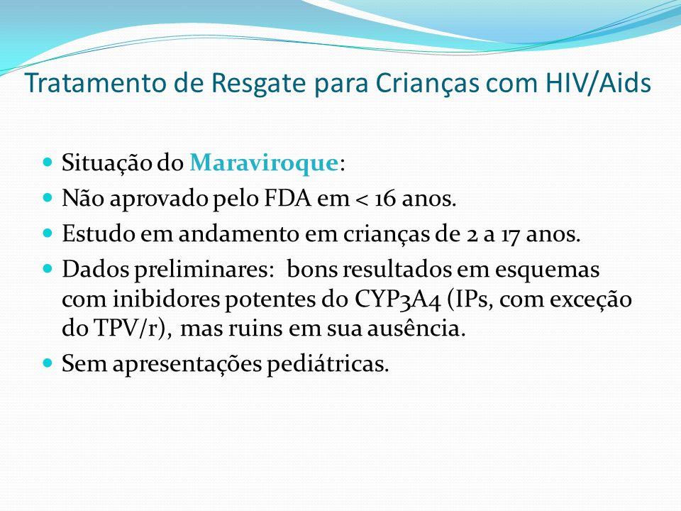 Situação do Maraviroque: Não aprovado pelo FDA em < 16 anos. Estudo em andamento em crianças de 2 a 17 anos. Dados preliminares: bons resultados em es