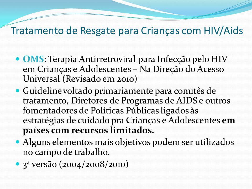 Tratamento de Resgate para Crianças com HIV/Aids Recomendações para escolha dos esquemas de 2ª linha: SituaçãoEsquema de 1ª linhaEsquema de 2ª linha Bebês e Crianças < 24m Não-exposta a ARVs2 ITRNs + NVP2 ITRNs + LPV/r Exposta a ITRNNs2 ITRNs + LPV/r2 ITRNs + ITRNN Exposição desconhecida2 ITRNs + NVP2 ITRNs + LPV/r Crianças Crianças > 24 m2 ITRNs + ITRNN2 ITRNs + IP/r