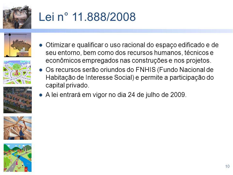10 Lei n° 11.888/2008 Otimizar e qualificar o uso racional do espaço edificado e de seu entorno, bem como dos recursos humanos, técnicos e econômicos
