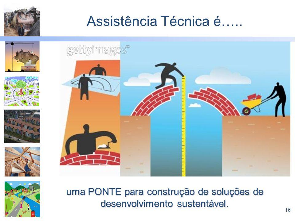 16 Assistência Técnica é….. uma PONTE para construção de soluções de desenvolvimento sustentável.