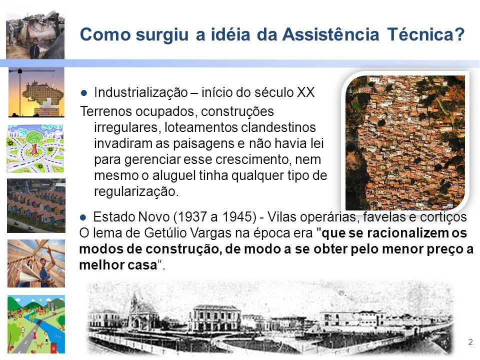 2 Como surgiu a idéia da Assistência Técnica? Industrialização – início do século XX Terrenos ocupados, construções irregulares, loteamentos clandesti