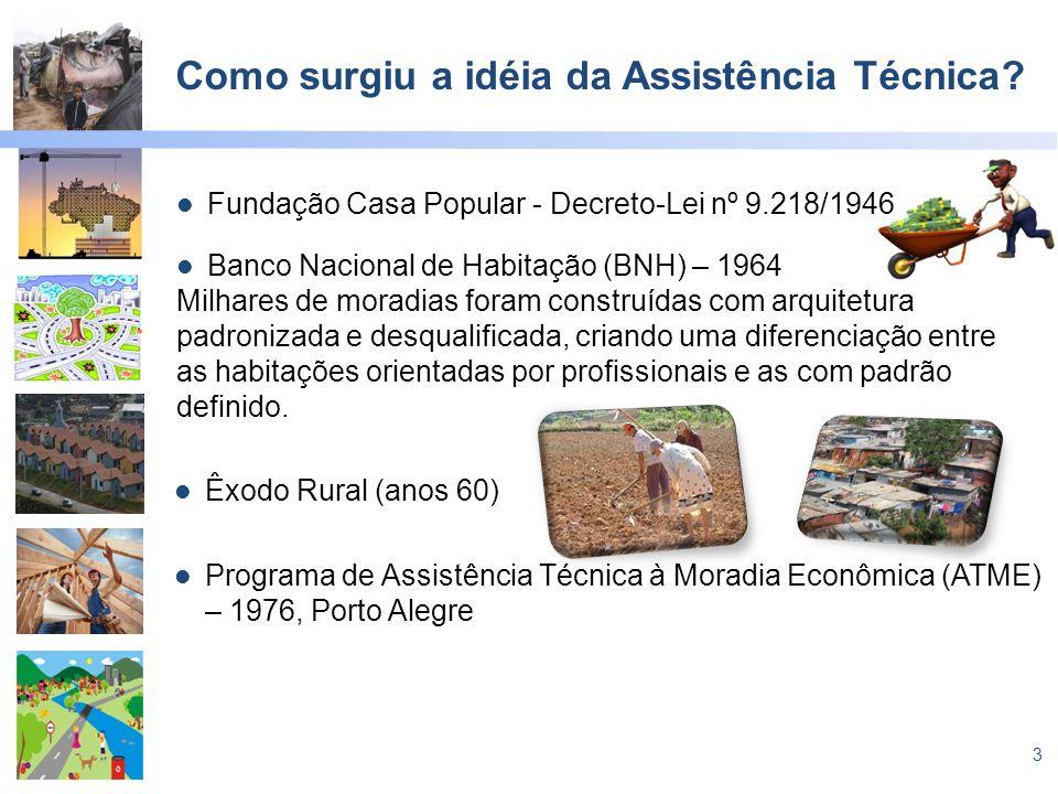 3 Como surgiu a idéia da Assistência Técnica? Fundação Casa Popular - Decreto-Lei nº 9.218/1946 Banco Nacional de Habitação (BNH) – 1964 Milhares de m