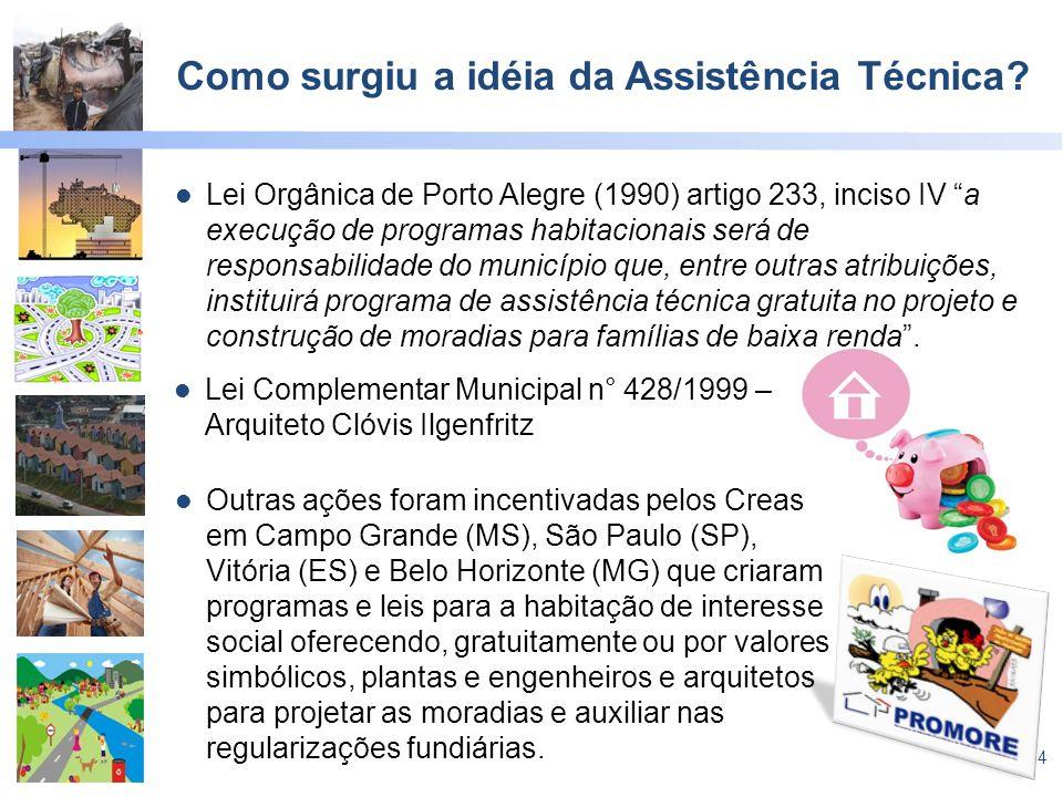 4 Como surgiu a idéia da Assistência Técnica? Lei Orgânica de Porto Alegre (1990) artigo 233, inciso IV a execução de programas habitacionais será de