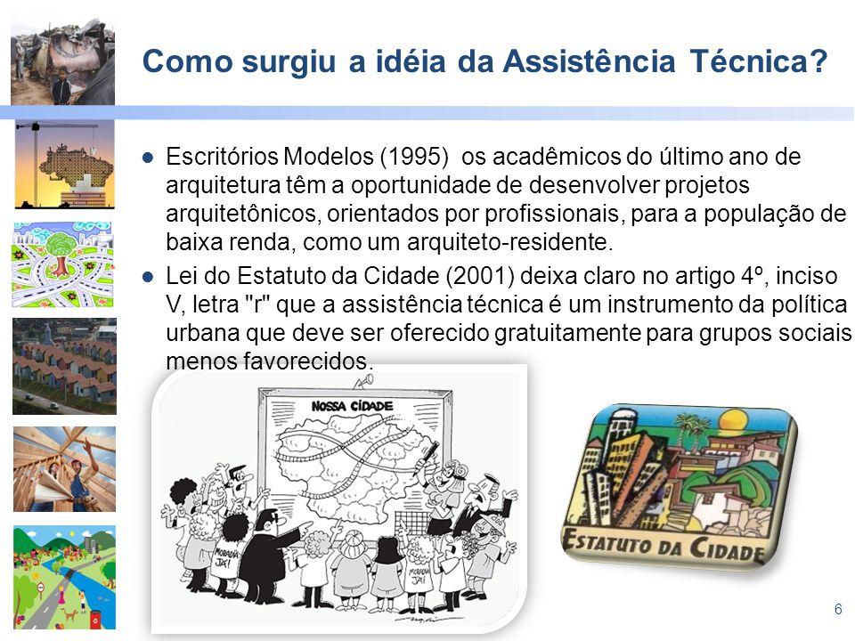 6 Como surgiu a idéia da Assistência Técnica? Escritórios Modelos (1995) os acadêmicos do último ano de arquitetura têm a oportunidade de desenvolver