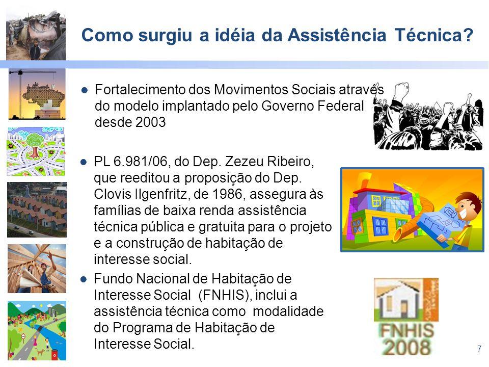 7 Como surgiu a idéia da Assistência Técnica? Fortalecimento dos Movimentos Sociais através do modelo implantado pelo Governo Federal desde 2003 PL 6.