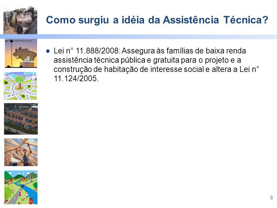 8 Como surgiu a idéia da Assistência Técnica? Lei n° 11.888/2008: Assegura às famílias de baixa renda assistência técnica pública e gratuita para o pr