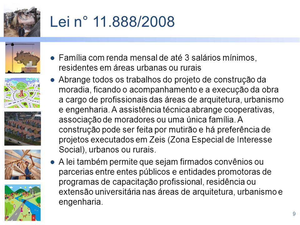 9 Lei n° 11.888/2008 Família com renda mensal de até 3 salários mínimos, residentes em áreas urbanas ou rurais Abrange todos os trabalhos do projeto d