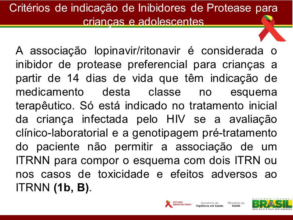 Critérios de indicação de Inibidores de Protease para crianças e adolescentes A associação lopinavir/ritonavir é considerada o inibidor de protease pr