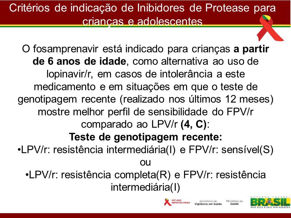 Critérios de indicação de Inibidores de Protease para crianças e adolescentes O fosamprenavir está indicado para crianças a partir de 6 anos de idade,