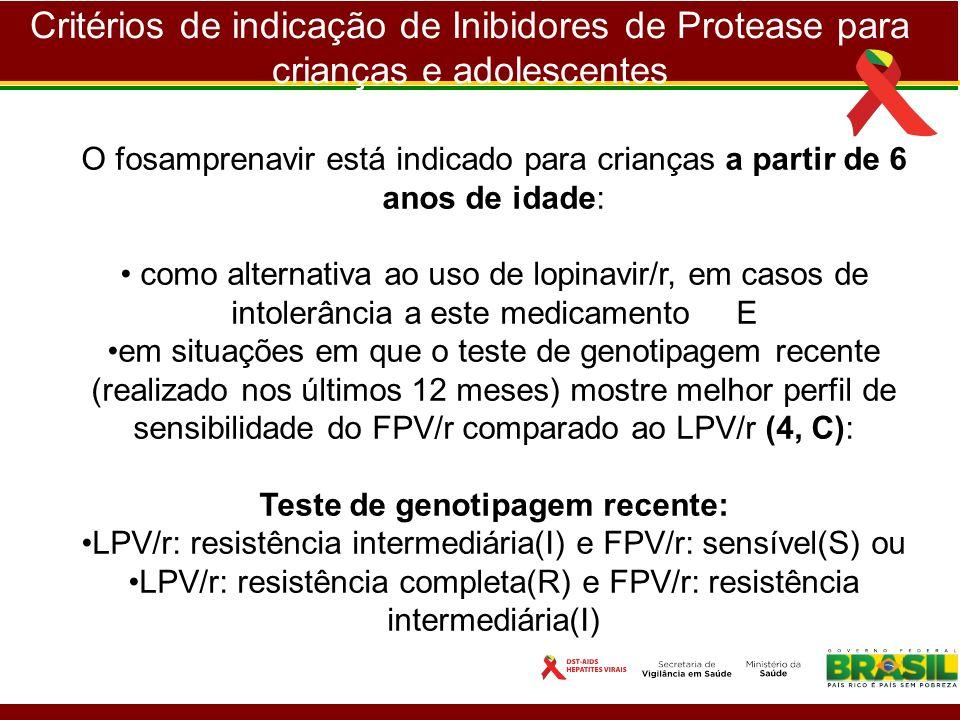 Critérios de indicação de Inibidores de Protease para crianças e adolescentes O fosamprenavir está indicado para crianças a partir de 6 anos de idade: