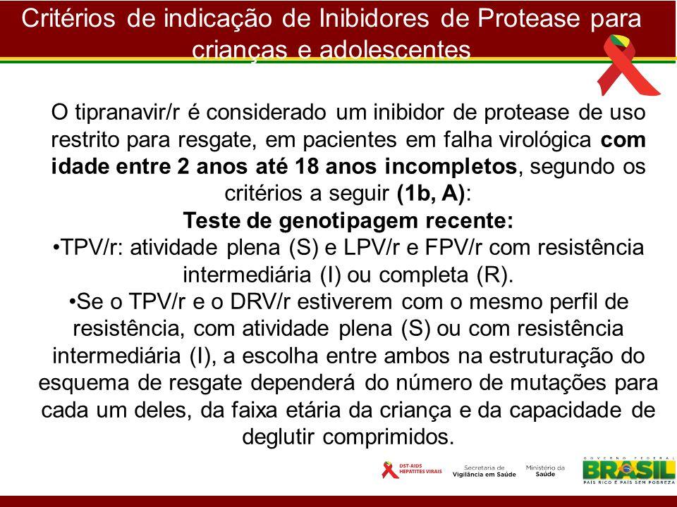 Critérios de indicação de Inibidores de Protease para crianças e adolescentes O tipranavir/r é considerado um inibidor de protease de uso restrito par