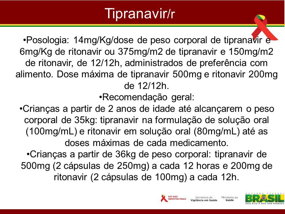 Tipranavir /r Posologia: 14mg/Kg/dose de peso corporal de tipranavir e 6mg/Kg de ritonavir ou 375mg/m2 de tipranavir e 150mg/m2 de ritonavir, de 12/12