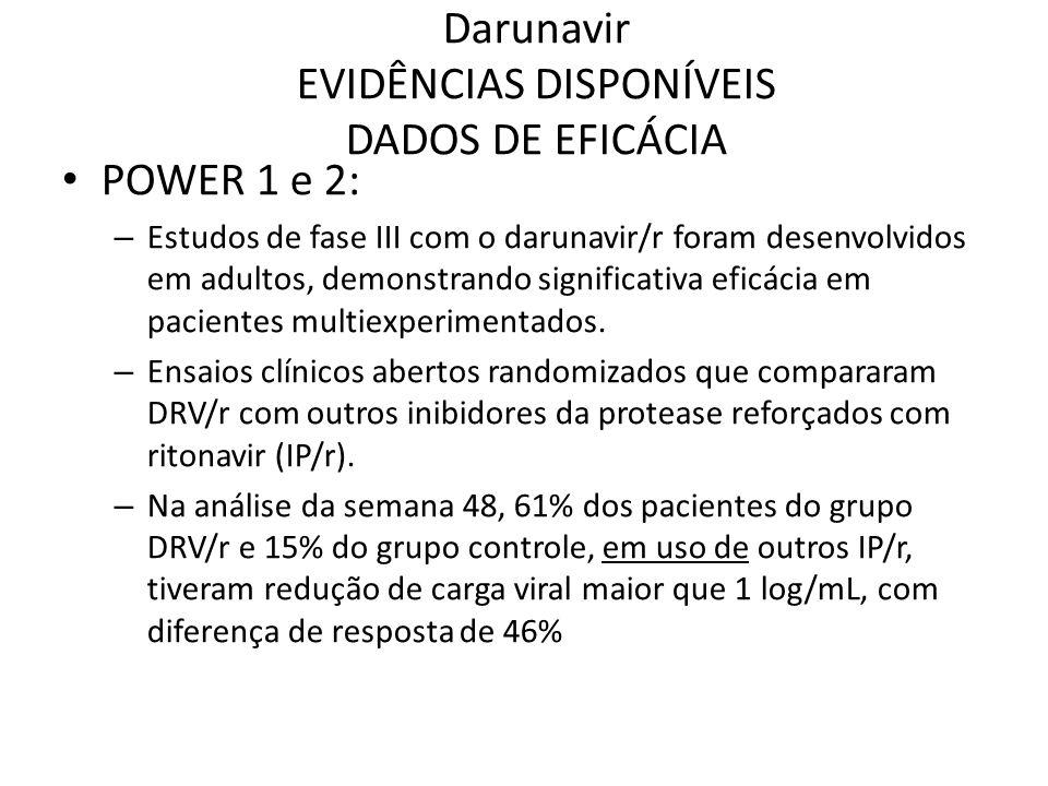 Darunavir EVIDÊNCIAS DISPONÍVEIS DADOS DE EFICÁCIA POWER 1 e 2: – Estudos de fase III com o darunavir/r foram desenvolvidos em adultos, demonstrando s