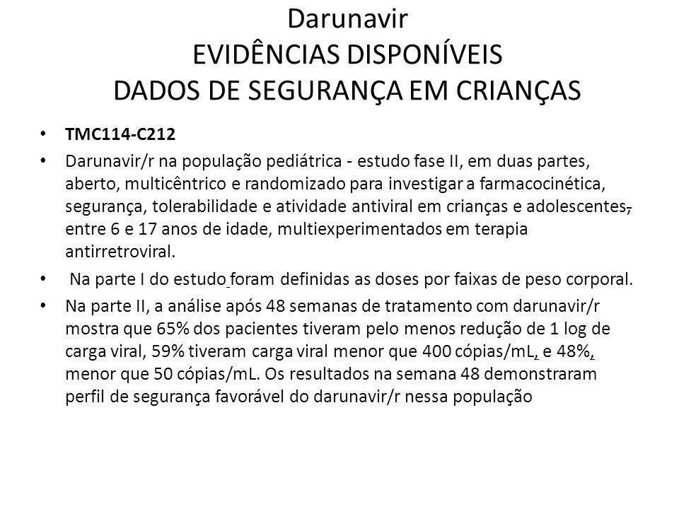 Darunavir EVIDÊNCIAS DISPONÍVEIS DADOS DE SEGURANÇA EM CRIANÇAS TMC114-C212 Darunavir/r na população pediátrica - estudo fase II, em duas partes, aber