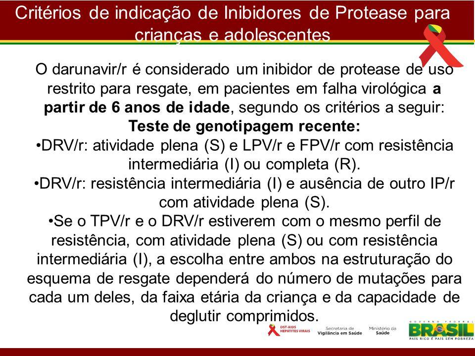 Critérios de indicação de Inibidores de Protease para crianças e adolescentes O darunavir/r é considerado um inibidor de protease de uso restrito para