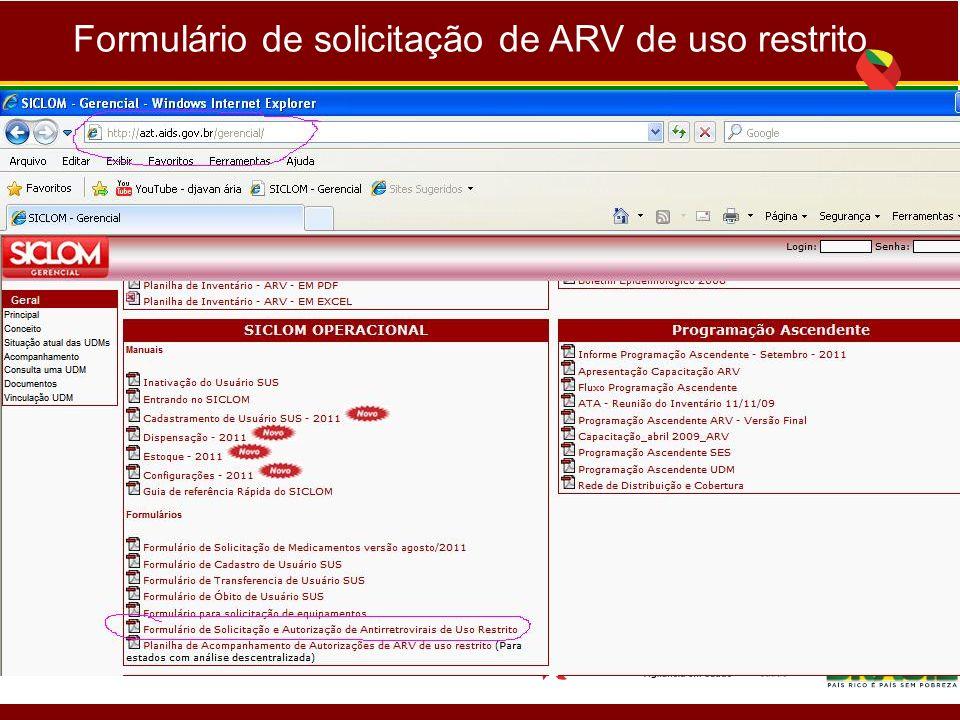 Formulário de solicitação de ARV de uso restrito