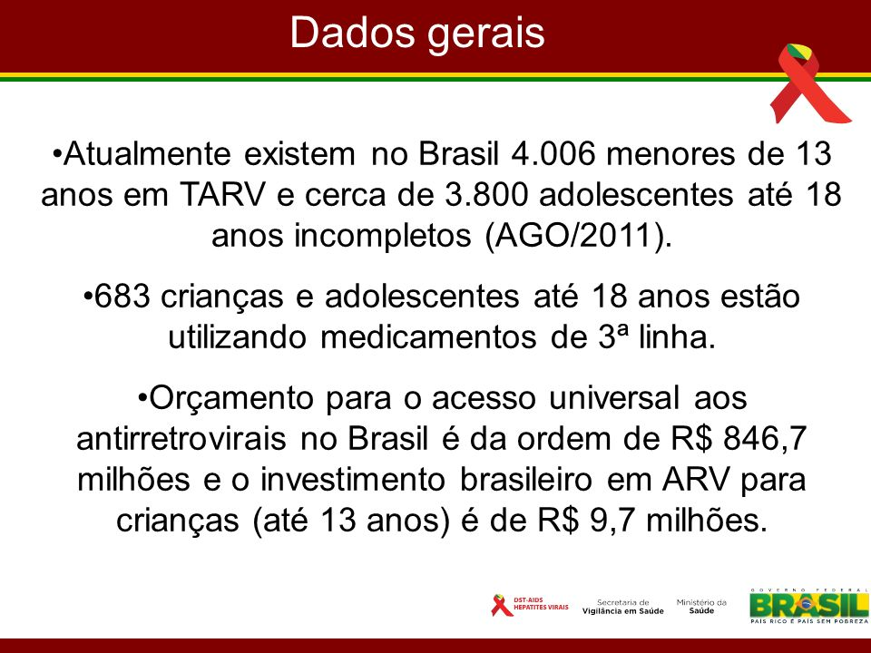 Atualmente existem no Brasil 4.006 menores de 13 anos em TARV e cerca de 3.800 adolescentes até 18 anos incompletos (AGO/2011). 683 crianças e adolesc