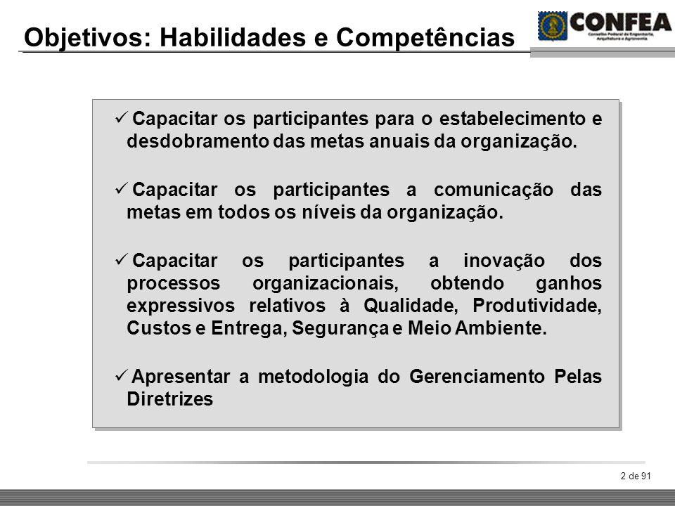 2 de 91 Objetivos: Habilidades e Competências Capacitar os participantes para o estabelecimento e desdobramento das metas anuais da organização. Capac