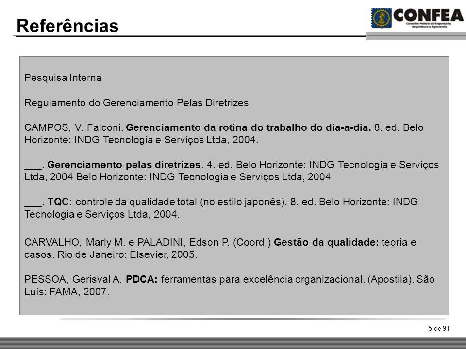 5 de 91 Referências Pesquisa Interna Regulamento do Gerenciamento Pelas Diretrizes CAMPOS, V. Falconi. Gerenciamento da rotina do trabalho do dia-a-di