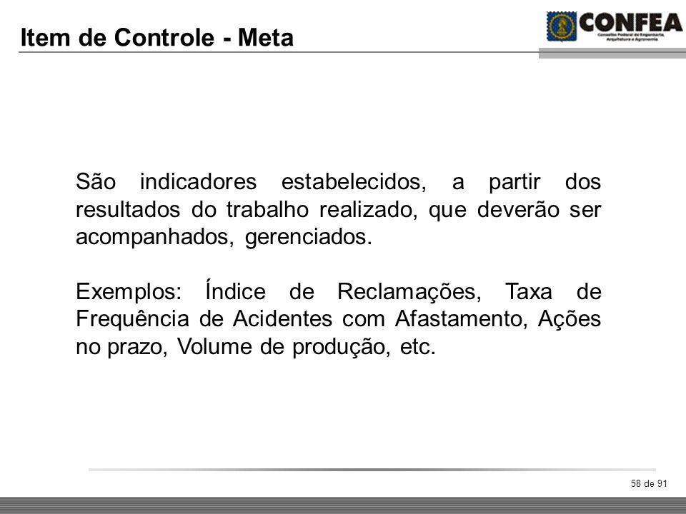 58 de 91 Item de Controle - Meta São indicadores estabelecidos, a partir dos resultados do trabalho realizado, que deverão ser acompanhados, gerenciad