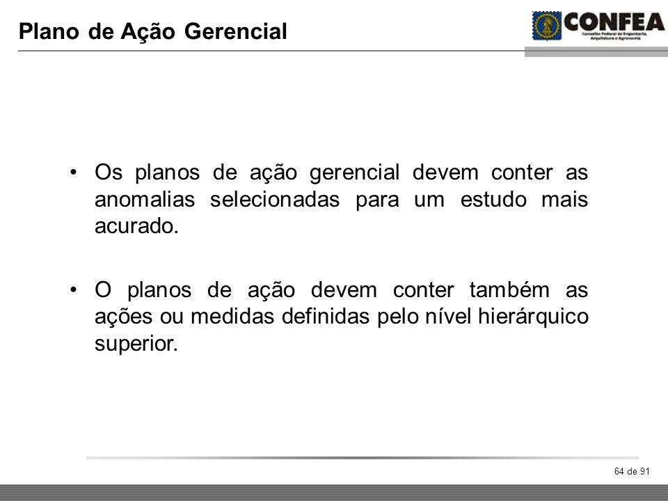 64 de 91 Plano de Ação Gerencial Os planos de ação gerencial devem conter as anomalias selecionadas para um estudo mais acurado. O planos de ação deve
