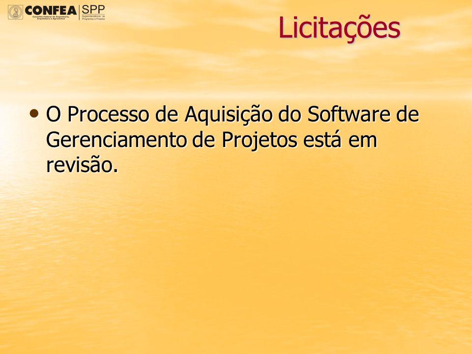 Licitações O Processo de Aquisição do Software de Gerenciamento de Projetos está em revisão. O Processo de Aquisição do Software de Gerenciamento de P